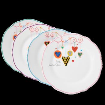 Komplet 4 talerzyków deserowych z porcelany Serca MULTIPLE CHOICE BY TOPCHOICE
