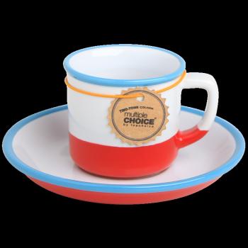 Kubek do espresso biało-czerwony, vintage MULTIPLE CHOICE BY TOPCHOICE