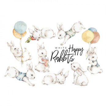 nakejka_scienna_zestaw_white_happy_rabbits_dekornik